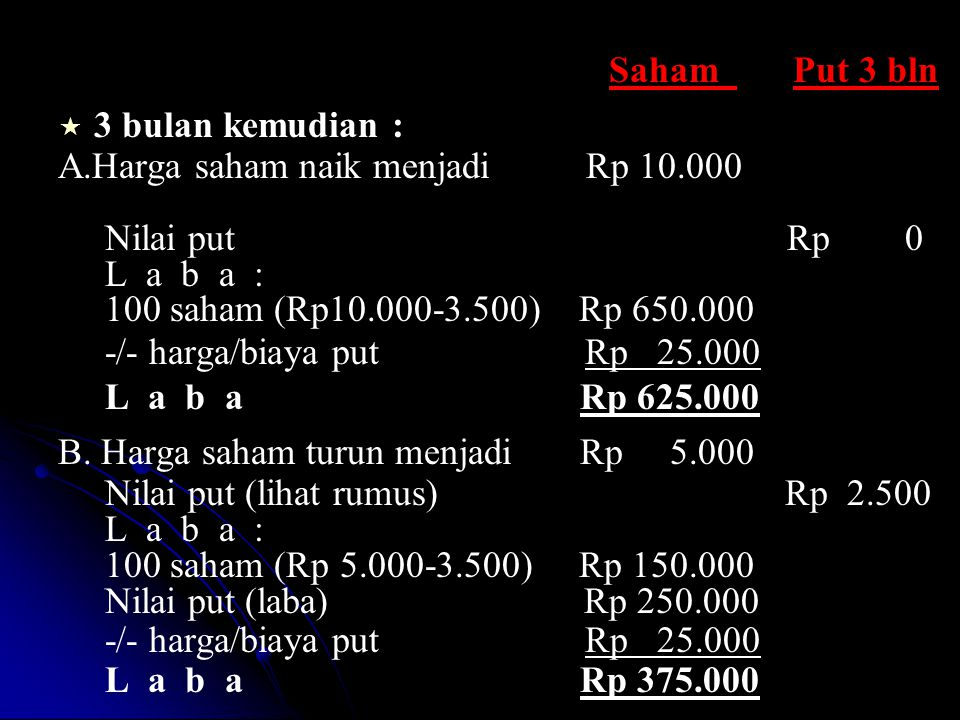 Saham Put 3 bln   3 bulan kemudian : A.Harga saham naik menjadi Rp 10.000 Nilai put Rp 0 L a b a : 100 saham (Rp10.000-3.500) Rp 650.000 -/- harga/b