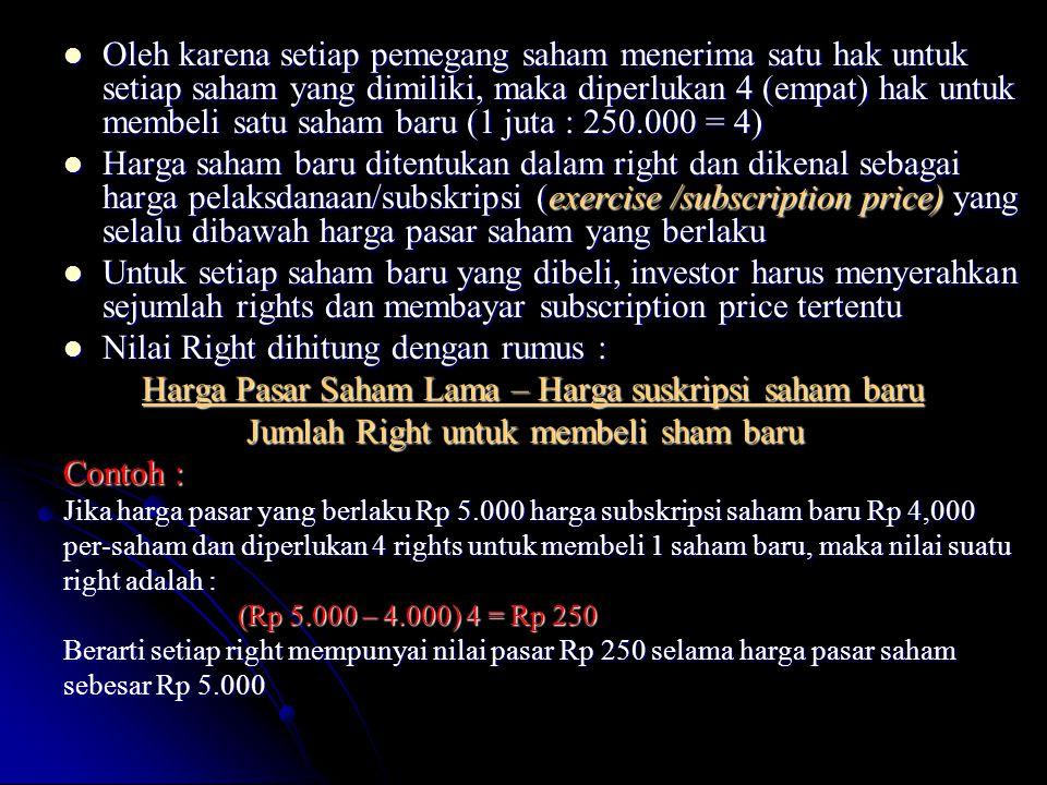   Suatu saham mempunyai harga pasar Rp 5.000 dan suatu Call dapat dibeli dengan harga Rp 50.000 dengan hak untuk membeli 100 saham tersebut.