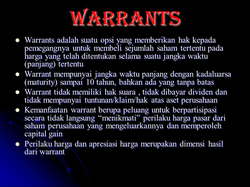 WARRANTs Warrants adalah suatu opsi yang memberikan hak kepada pemegangnya untuk membeli sejumlah saham tertentu pada harga yang telah ditentukan sela