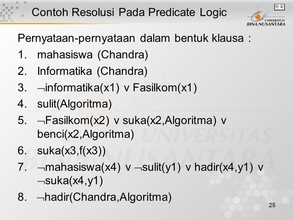 25 Contoh Resolusi Pada Predicate Logic Pernyataan-pernyataan dalam bentuk klausa : 1.mahasiswa (Chandra) 2.Informatika (Chandra) 3.