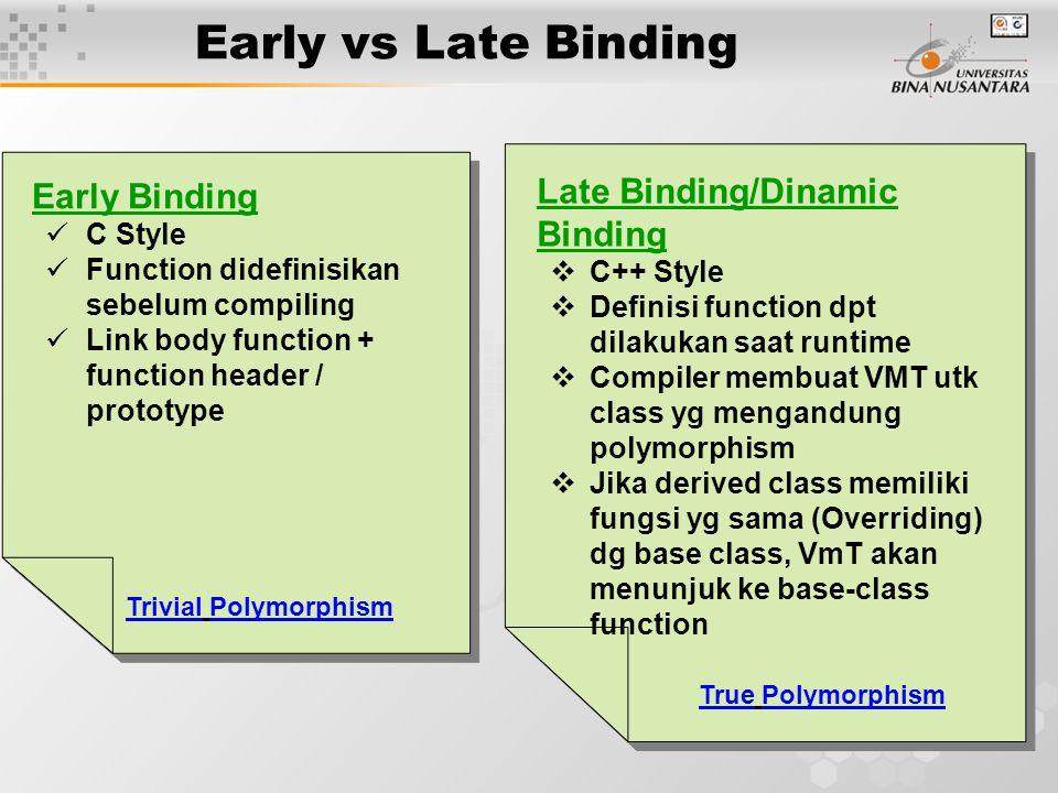 12 Early vs Late Binding Early Binding C Style Function didefinisikan sebelum compiling Link body function + function header / prototype Early Binding C Style Function didefinisikan sebelum compiling Link body function + function header / prototype Late Binding/Dinamic Binding  C++ Style  Definisi function dpt dilakukan saat runtime  Compiler membuat VMT utk class yg mengandung polymorphism  Jika derived class memiliki fungsi yg sama (Overriding) dg base class, VmT akan menunjuk ke base-class function Late Binding/Dinamic Binding  C++ Style  Definisi function dpt dilakukan saat runtime  Compiler membuat VMT utk class yg mengandung polymorphism  Jika derived class memiliki fungsi yg sama (Overriding) dg base class, VmT akan menunjuk ke base-class function True Polymorphism Trivial Polymorphism