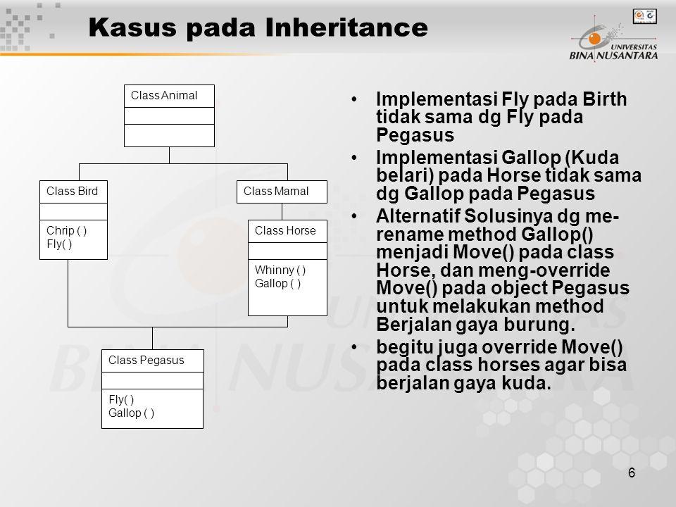 6 Kasus pada Inheritance Implementasi Fly pada Birth tidak sama dg Fly pada Pegasus Implementasi Gallop (Kuda belari) pada Horse tidak sama dg Gallop pada Pegasus Alternatif Solusinya dg me- rename method Gallop() menjadi Move() pada class Horse, dan meng-override Move() pada object Pegasus untuk melakukan method Berjalan gaya burung.