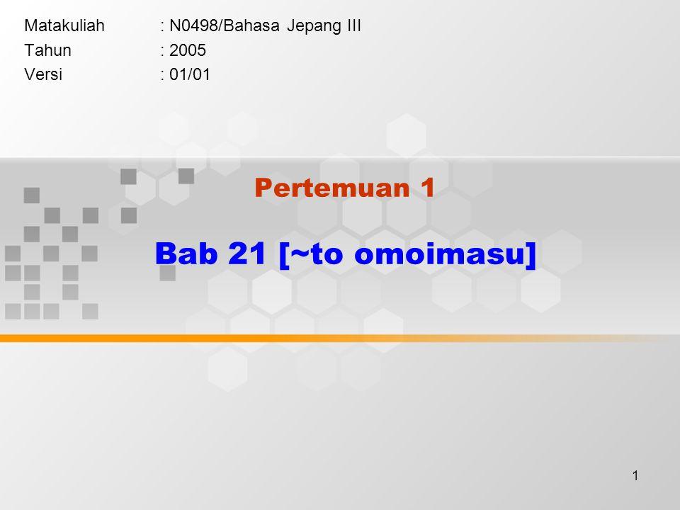1 Pertemuan 1 Bab 21 [~to omoimasu] Matakuliah: N0498/Bahasa Jepang III Tahun: 2005 Versi: 01/01