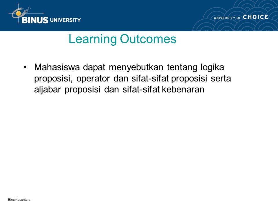 Bina Nusantara Logika Proposisi Pertemuan 1: Matakuliah:K0362/Matematika Diskrit Tahun:2008
