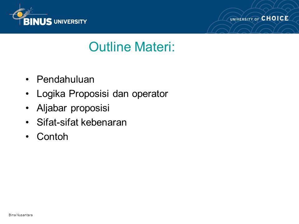 Bina Nusantara Learning Outcomes Mahasiswa dapat menyebutkan tentang logika proposisi, operator dan sifat-sifat proposisi serta aljabar proposisi dan