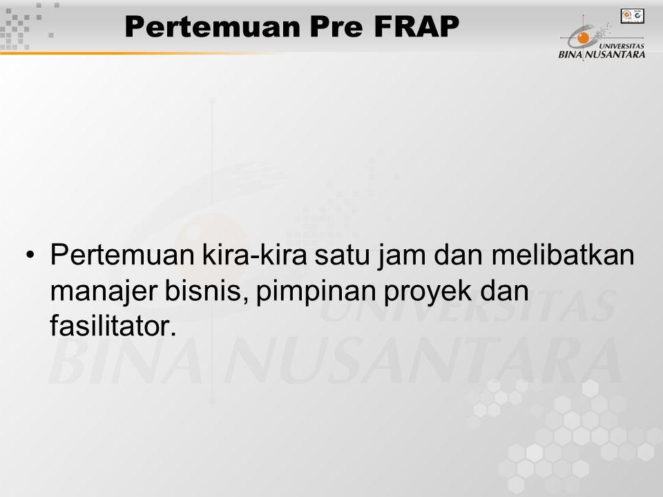 Pertemuan Pre FRAP Pertemuan kira-kira satu jam dan melibatkan manajer bisnis, pimpinan proyek dan fasilitator.