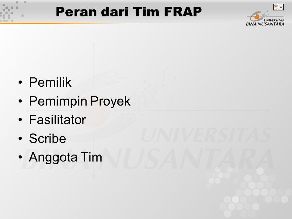 Peran dari Tim FRAP Pemilik Pemimpin Proyek Fasilitator Scribe Anggota Tim