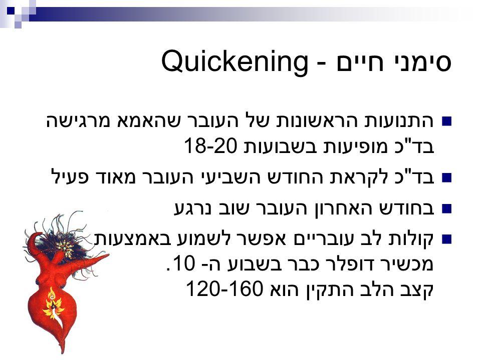 סימני חיים - Quickening התנועות הראשונות של העובר שהאמא מרגישה בד
