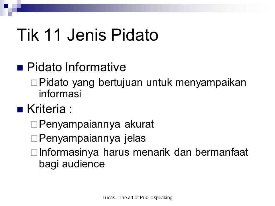 Lucas - The art of Public speaking Tik 11 Jenis Pidato Pidato Informative  Pidato yang bertujuan untuk menyampaikan informasi Kriteria :  Penyampaia