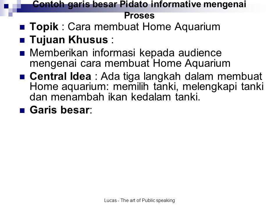 Lucas - The art of Public speaking Contoh garis besar Pidato informative mengenai Proses.