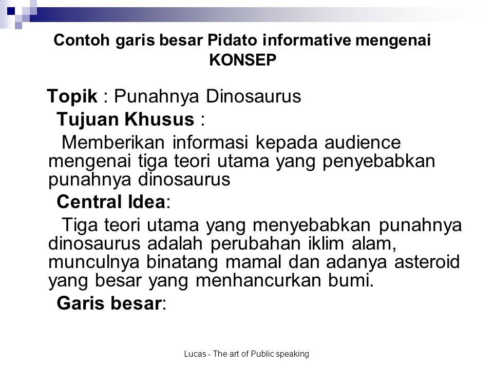 Lucas - The art of Public speaking Contoh garis besar Pidato informative mengenai KONSEP Garis besar: I.