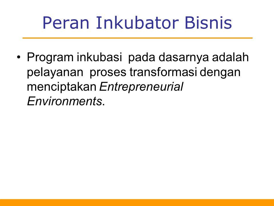 Program inkubasi pada dasarnya adalah pelayanan proses transformasi dengan menciptakan Entrepreneurial Environments.