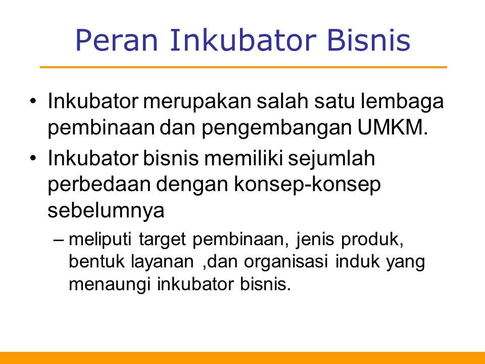 Peran Inkubator Bisnis Inkubator merupakan salah satu lembaga pembinaan dan pengembangan UMKM.