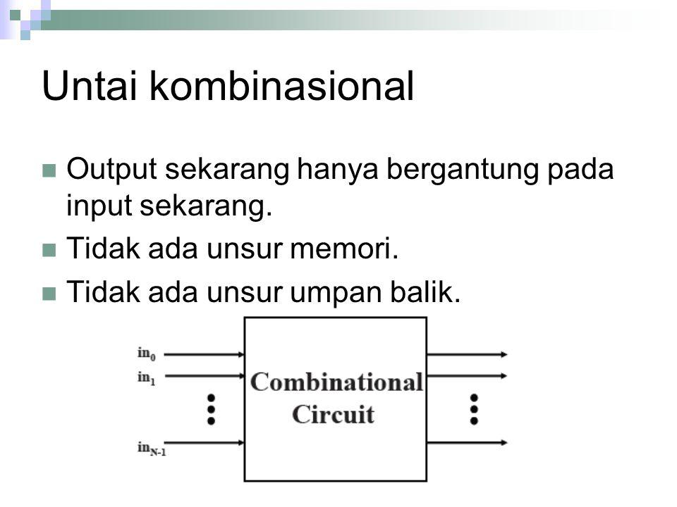 Untai kombinasional Output sekarang hanya bergantung pada input sekarang. Tidak ada unsur memori. Tidak ada unsur umpan balik.
