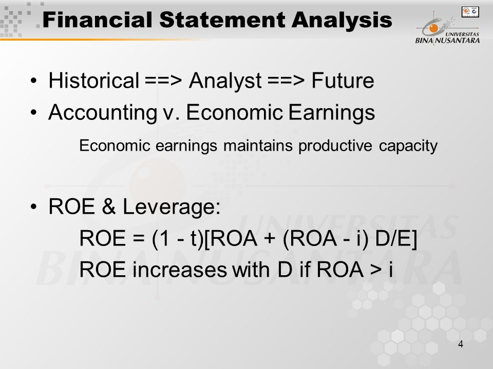 5 Decomposition of ROE Net Profit / Pretax profit (tax burden) x Pretax Profit / EBIT(interest burden) x EBIT / Sales(profit margin) x Sales / Assets(asset turnover) x Assets / Equity(equity multiplier)