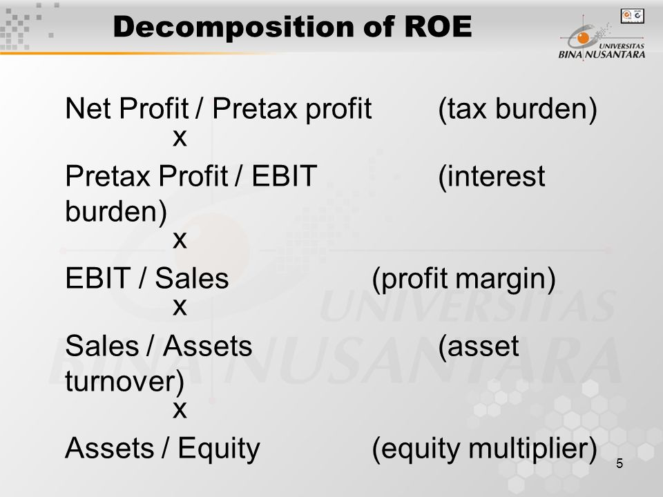 6 ROE analysis ROE = tax burden x ROA x Leverage factor Leverage factor = Interest burden x leverage ROA = EBIT/Assets (= ROS x ATO) Meaningful for same industry only Ex: Utility & supermarket chain Can differ within industry Ex: Wal-Mart and Neiman Marcus ( Low ROS, High ATO; High ROS, low ATO)