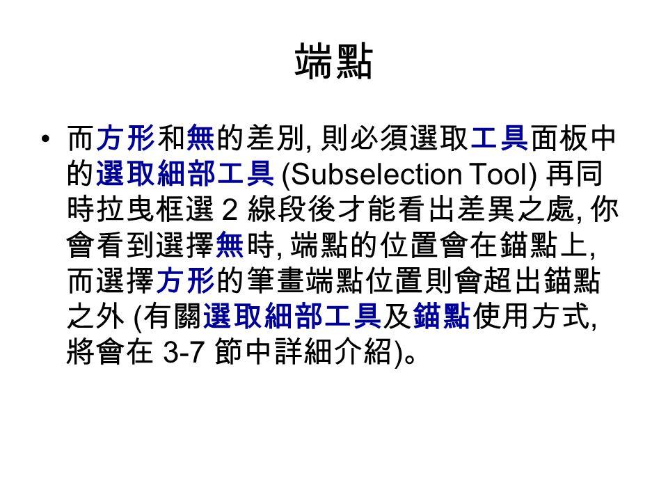 端點 而方形和無的差別, 則必須選取工具面板中 的選取細部工具 (Subselection Tool) 再同 時拉曳框選 2 線段後才能看出差異之處, 你 會看到選擇無時, 端點的位置會在錨點上, 而選擇方形的筆畫端點位置則會超出錨點 之外 ( 有關選取細部工具及錨點使用方式, 將會在 3-7 節中詳細介紹 ) 。