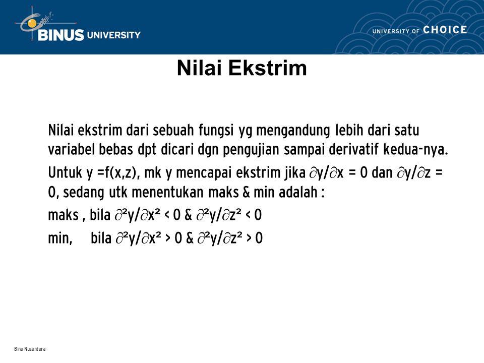 Bina Nusantara Nilai Ekstrim Nilai ekstrim dari sebuah fungsi yg mengandung lebih dari satu variabel bebas dpt dicari dgn pengujian sampai derivatif k