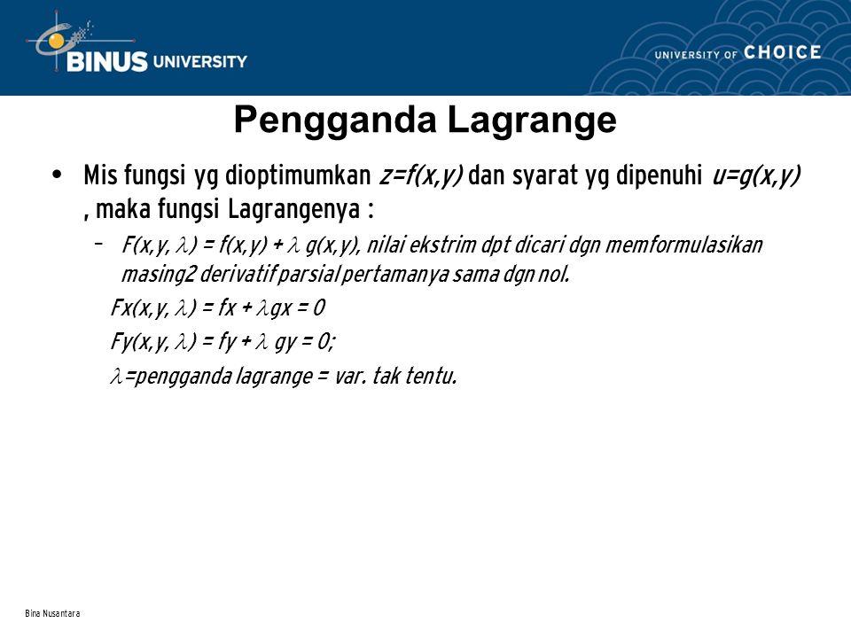 Bina Nusantara Pengganda Lagrange Mis fungsi yg dioptimumkan z=f(x,y) dan syarat yg dipenuhi u=g(x,y), maka fungsi Lagrangenya : – F(x,y, ) = f(x,y) +