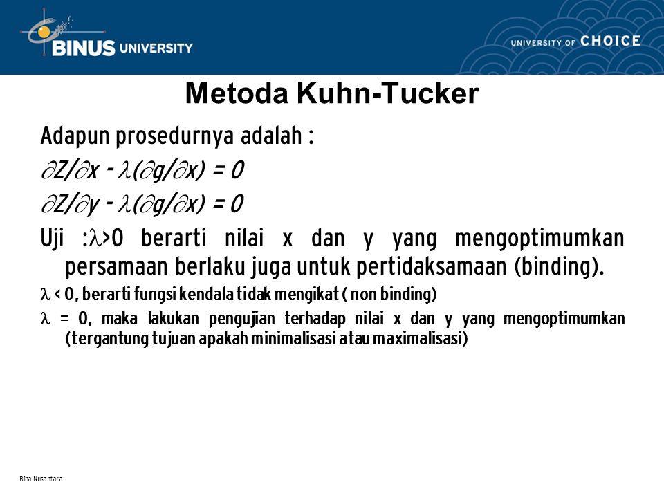 Bina Nusantara Metoda Kuhn-Tucker Adapun prosedurnya adalah :  Z/  x - (  g/  x) = 0  Z/  y - (  g/  x) = 0 Uji : >0 berarti nilai x dan y yan