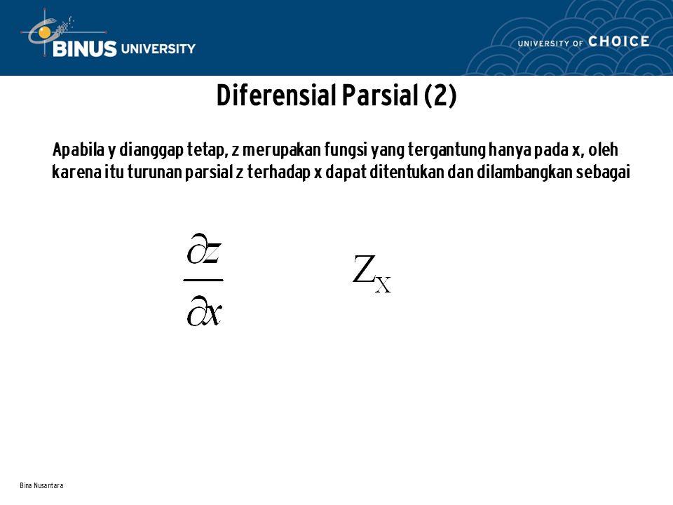 Bina Nusantara Diferensial Parsial (2) Apabila y dianggap tetap, z merupakan fungsi yang tergantung hanya pada x, oleh karena itu turunan parsial z te