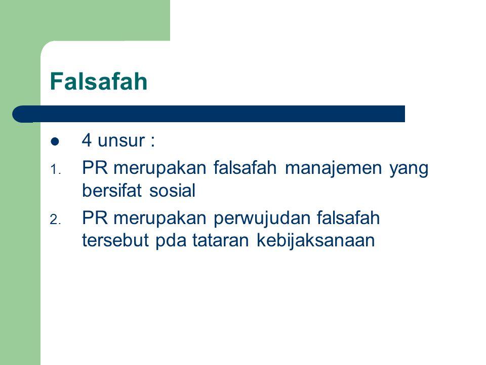 Falsafah 4 unsur : 1. PR merupakan falsafah manajemen yang bersifat sosial 2. PR merupakan perwujudan falsafah tersebut pda tataran kebijaksanaan