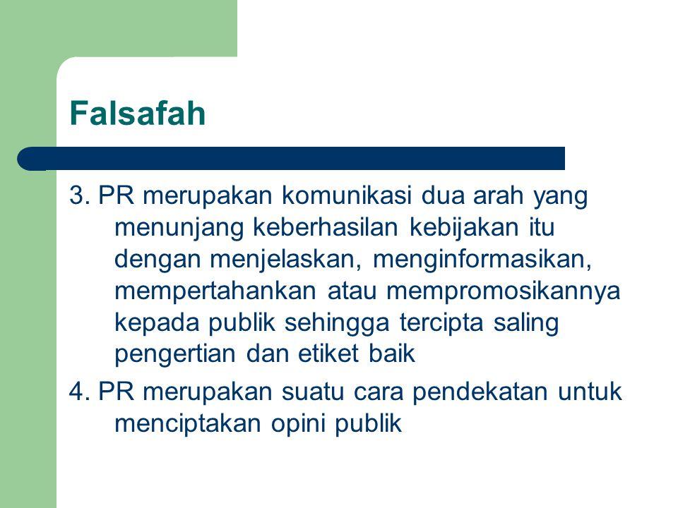 Falsafah 3. PR merupakan komunikasi dua arah yang menunjang keberhasilan kebijakan itu dengan menjelaskan, menginformasikan, mempertahankan atau mempr