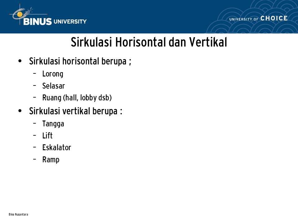 Bina Nusantara Sirkulasi Horisontal dan Vertikal Sirkulasi horisontal berupa ; – Lorong – Selasar – Ruang (hall, lobby dsb) Sirkulasi vertikal berupa : – Tangga – Lift – Eskalator – Ramp