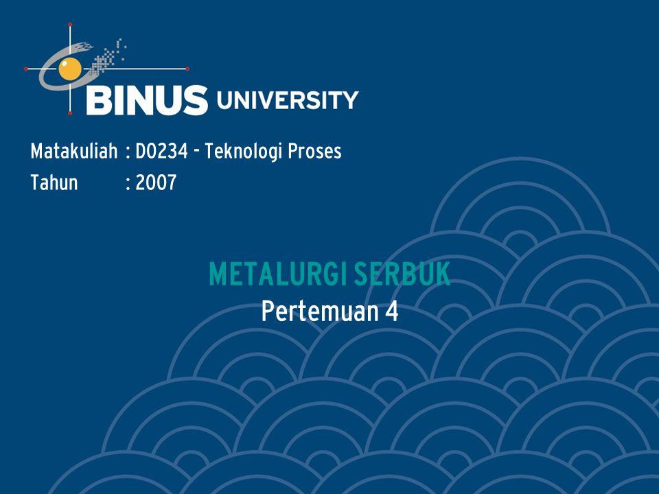 Bina Nusantara Learning Outcomes Outline Materi : Mahasiswa dapat menerangkan konsep dasar tekno- logi dan proses metalurgi serbuk..