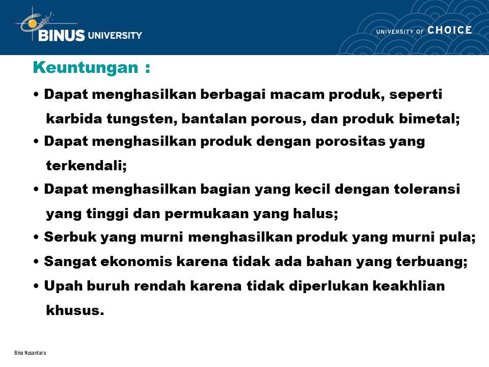 Bina Nusantara Keuntungan : Dapat menghasilkan berbagai macam produk, seperti karbida tungsten, bantalan porous, dan produk bimetal; Dapat menghasilka