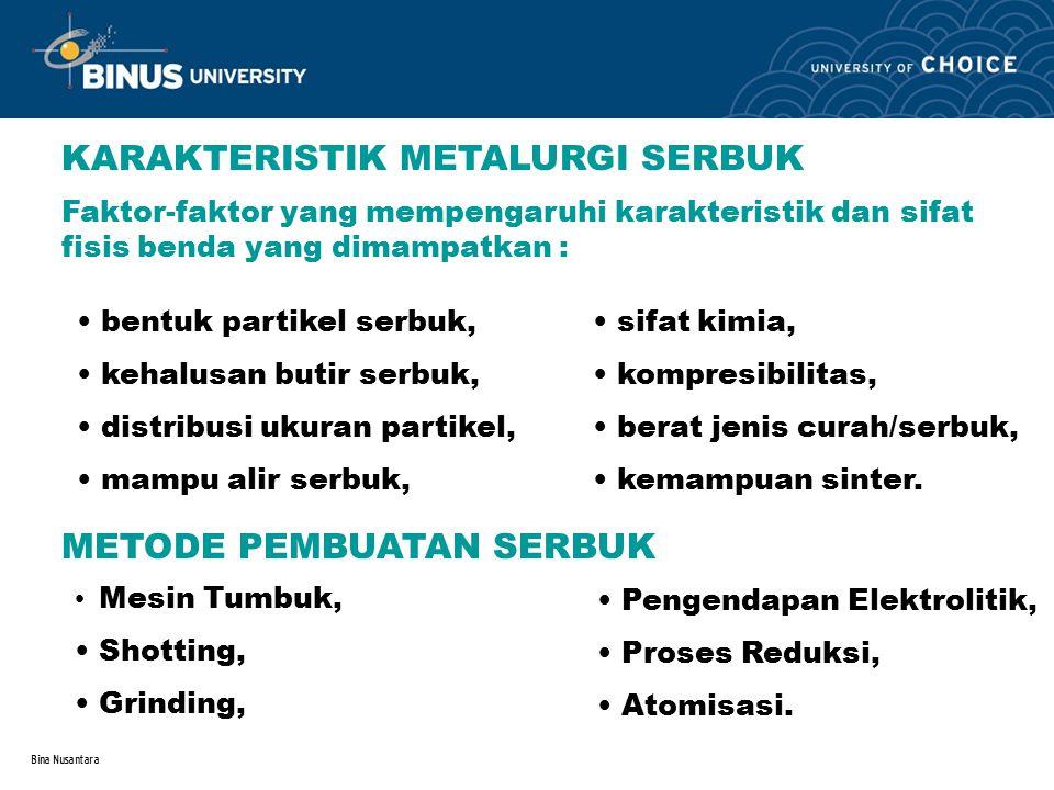 Bina Nusantara Mesin Tumbuk, biasanya dilakukan untuk logam / paduan yang rapuh, dan dilanjutkan dengan proses penggilingan dan penyaringan.