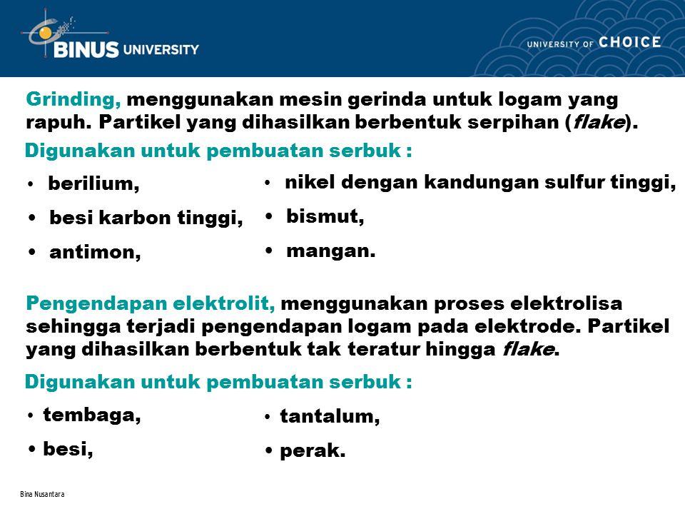 Bina Nusantara Proses reduksi, mereduksi kandungan oksida dengan mengalirkan gas reduktor (H, CO, dll).