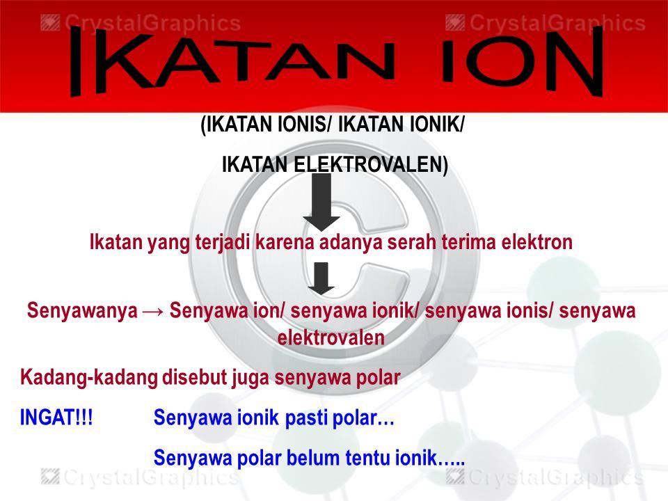 Ikatan yang terjadi karena adanya serah terima elektron (IKATAN IONIS/ IKATAN IONIK/ IKATAN ELEKTROVALEN) Senyawanya → Senyawa ion/ senyawa ionik/ sen