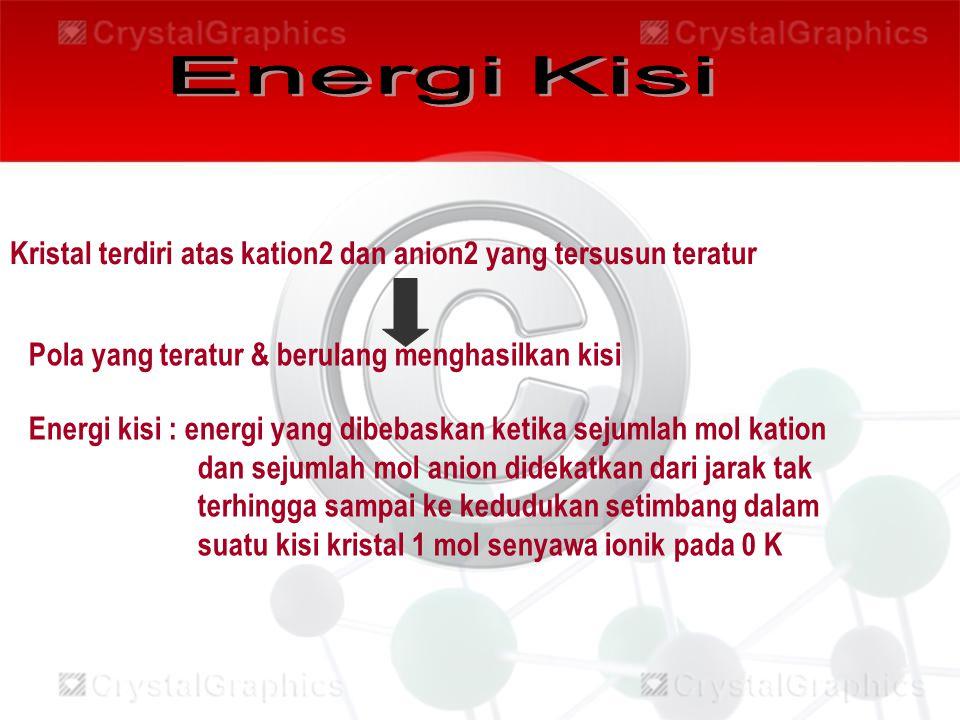 Kristal terdiri atas kation2 dan anion2 yang tersusun teratur Pola yang teratur & berulang menghasilkan kisi Energi kisi : energi yang dibebaskan keti