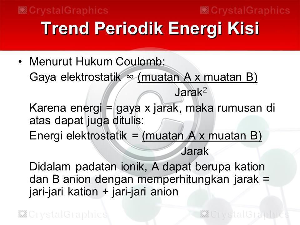 Trend Periodik Energi Kisi Menurut Hukum Coulomb: Gaya elektrostatik ∞ (muatan A x muatan B) Jarak 2 Karena energi = gaya x jarak, maka rumusan di ata