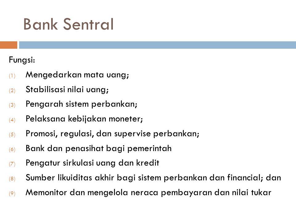 Bank Sentral Fungsi: (1) Mengedarkan mata uang; (2) Stabilisasi nilai uang; (3) Pengarah sistem perbankan; (4) Pelaksana kebijakan moneter; (5) Promos
