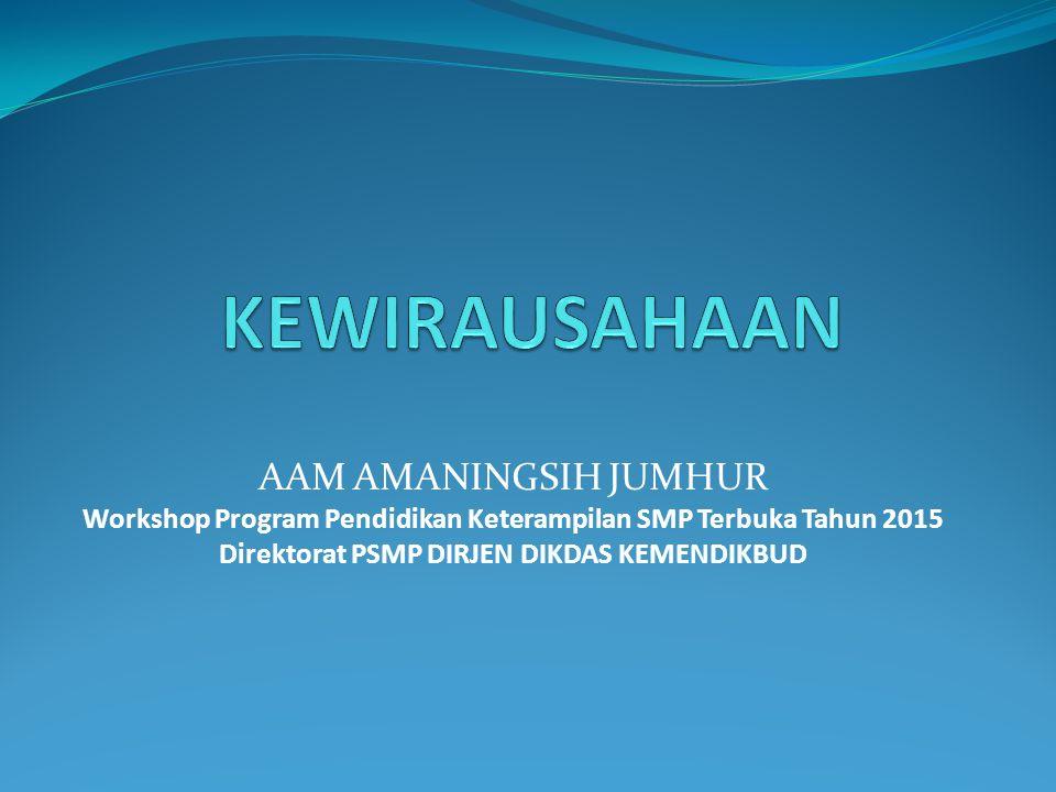 AAM AMANINGSIH JUMHUR Workshop Program Pendidikan Keterampilan SMP Terbuka Tahun 2015 Direktorat PSMP DIRJEN DIKDAS KEMENDIKBUD