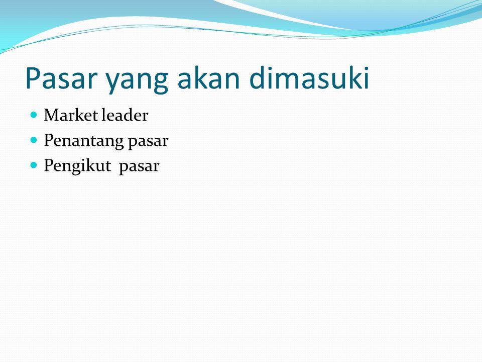 Pasar yang akan dimasuki Market leader Penantang pasar Pengikut pasar