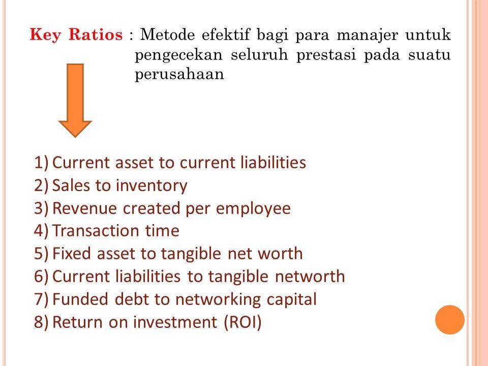 Key Ratios : Metode efektif bagi para manajer untuk pengecekan seluruh prestasi pada suatu perusahaan 1)Current asset to current liabilities 2)Sales to inventory 3)Revenue created per employee 4)Transaction time 5)Fixed asset to tangible net worth 6)Current liabilities to tangible networth 7)Funded debt to networking capital 8)Return on investment (ROI)