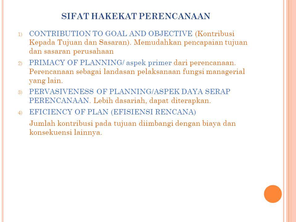 SIFAT HAKEKAT PERENCANAAN 1) CONTRIBUTION TO GOAL AND OBJECTIVE (Kontribusi Kepada Tujuan dan Sasaran).