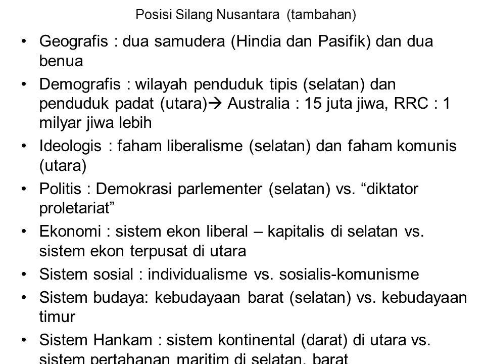 Geografis Indonesia (lanjutan) ….  Wilayah yang subur dan habitable (dapat dihuni)  Jumlah penduduk yang besar 218 jutaan jiwa, persebarannya tidak