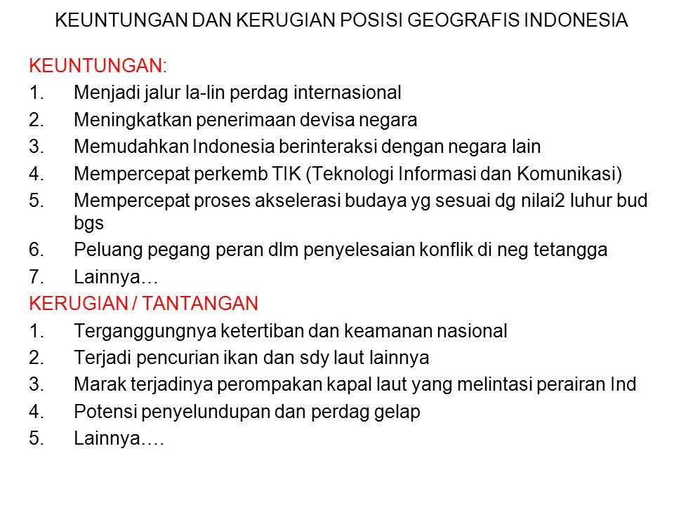 Posisi Silang Nusantara (tambahan) Geografis : dua samudera (Hindia dan Pasifik) dan dua benua Demografis : wilayah penduduk tipis (selatan) dan pendu
