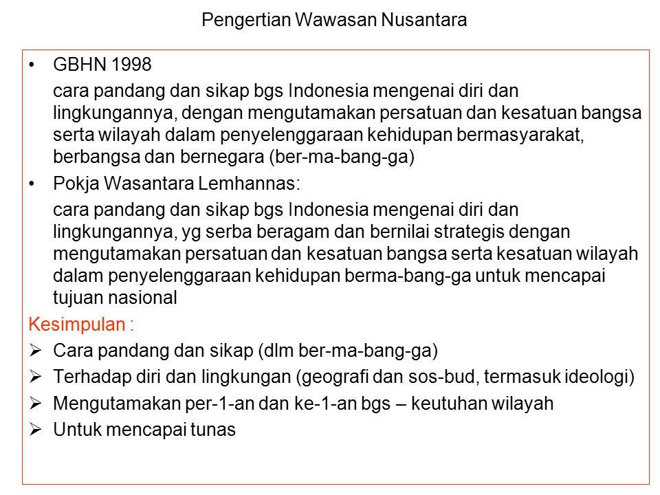 PENGERTIAN WASANTARA Wawasan Nusantara = Wawasan Nasional (national outlook)-nya bangsa Indonesia, artinya Wasantara dijadikan sbg wawasan dalam penye
