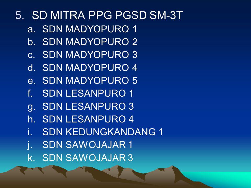 5.SD MITRA PPG PGSD SM-3T a.SDN MADYOPURO 1 b.SDN MADYOPURO 2 c.SDN MADYOPURO 3 d.SDN MADYOPURO 4 e.SDN MADYOPURO 5 f.SDN LESANPURO 1 g.SDN LESANPURO