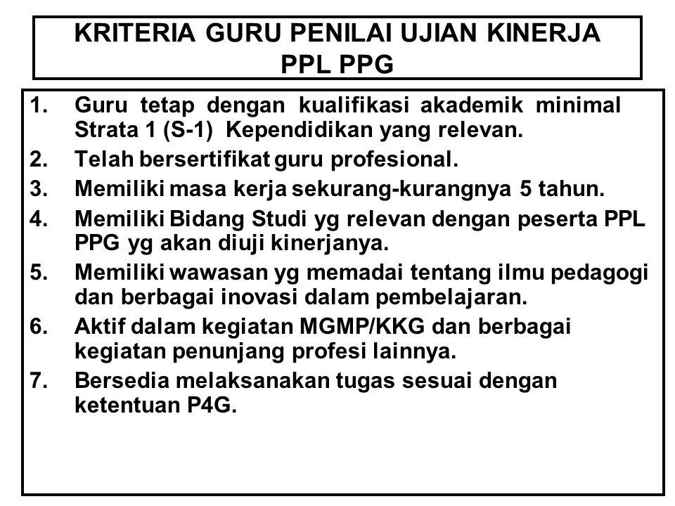 KRITERIA GURU PENILAI UJIAN KINERJA PPL PPG 1.Guru tetap dengan kualifikasi akademik minimal Strata 1 (S-1) Kependidikan yang relevan. 2.Telah bersert