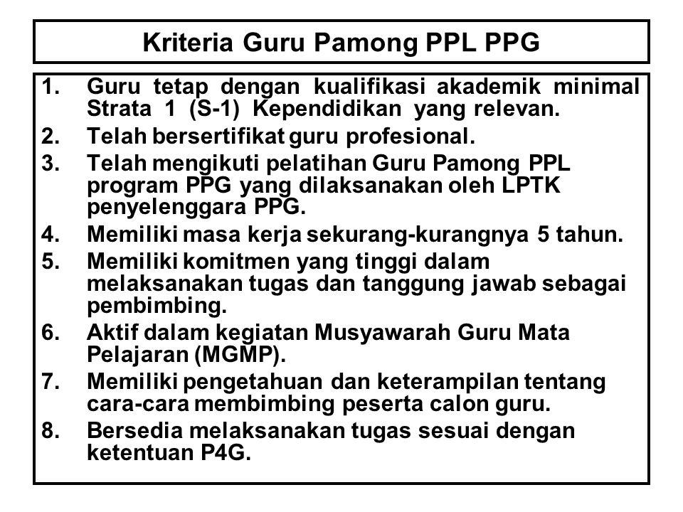 Kriteria Guru Pamong PPL PPG 1.Guru tetap dengan kualifikasi akademik minimal Strata 1 (S-1) Kependidikan yang relevan. 2.Telah bersertifikat guru pro