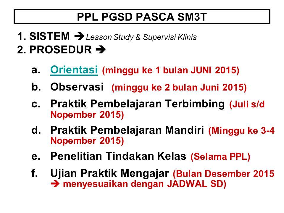 PPL PGSD PASCA SM3T a.Orientasi (minggu ke 1 bulan JUNI 2015)Orientasi b.Observasi (minggu ke 2 bulan Juni 2015) c.Praktik Pembelajaran Terbimbing (Ju