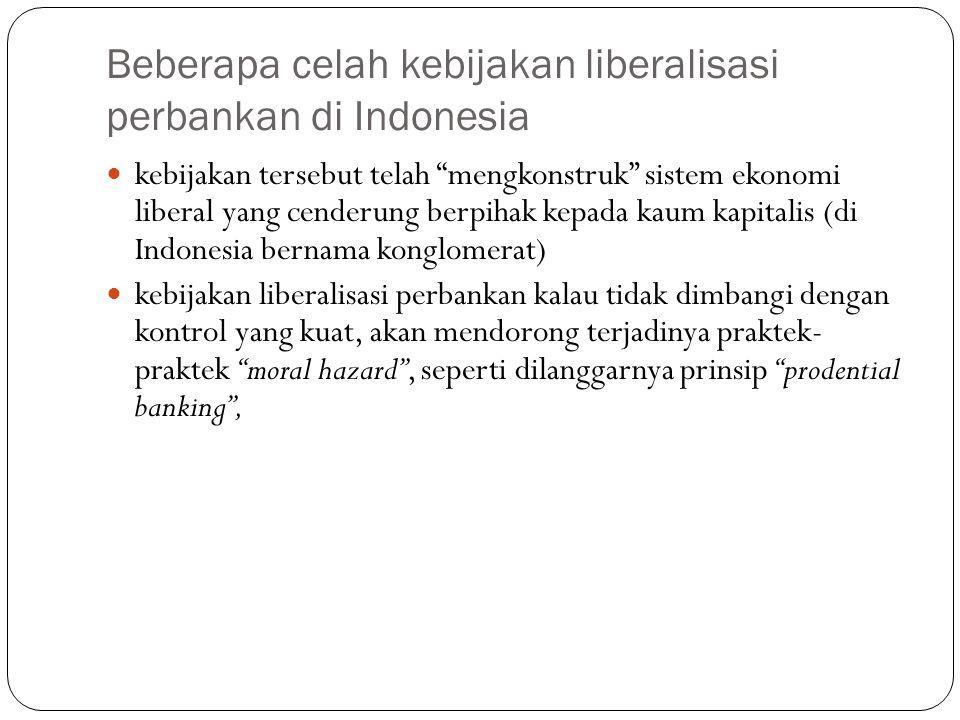 """Beberapa celah kebijakan liberalisasi perbankan di Indonesia kebijakan tersebut telah """"mengkonstruk"""" sistem ekonomi liberal yang cenderung berpihak ke"""