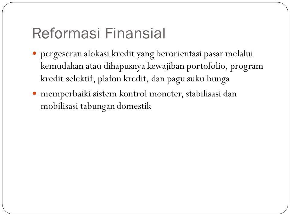 Reformasi Finansial pergeseran alokasi kredit yang berorientasi pasar melalui kemudahan atau dihapusnya kewajiban portofolio, program kredit selektif,