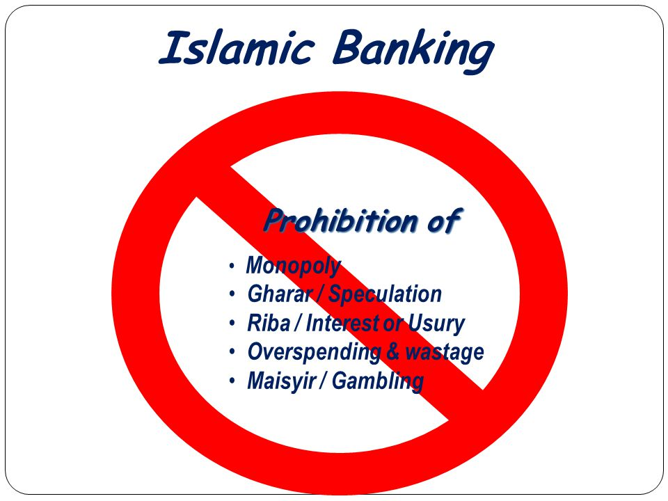 Islamic Banking Prohibition of Monopoly Gharar / Speculation Riba / Interest or Usury Overspending & wastage Maisyir / Gambling